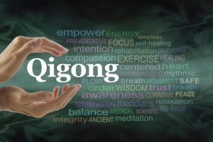 Qigong  word  cloud  and  healing  hands  -  female  cupped  hands  with  the  word  QIGONG  between  surrounded  by  word  cloud  on  a  flowing  green  light  and  dark  background